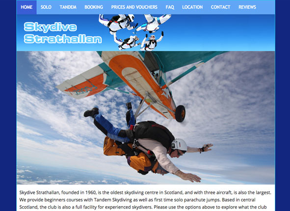 Skydive Strathallan - website and ecommerce