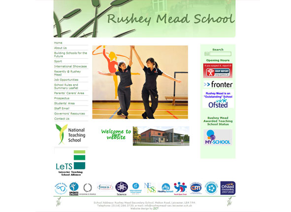 Rushey Mead School website and tuition