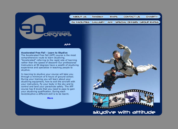 90 Degrees Parachute Centre - website