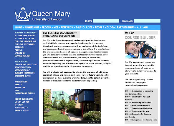 Queen Mary University department Intranet website